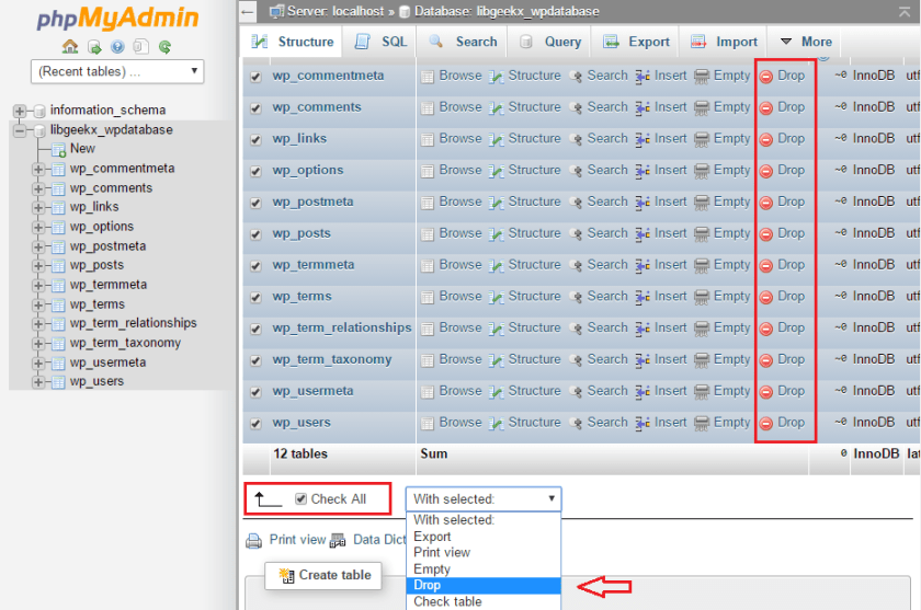 cpanel_wordpress_databases-drop