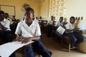 Children attend class at the www.worldatschool.org Slipway primary school in central Monrovia, the capital.