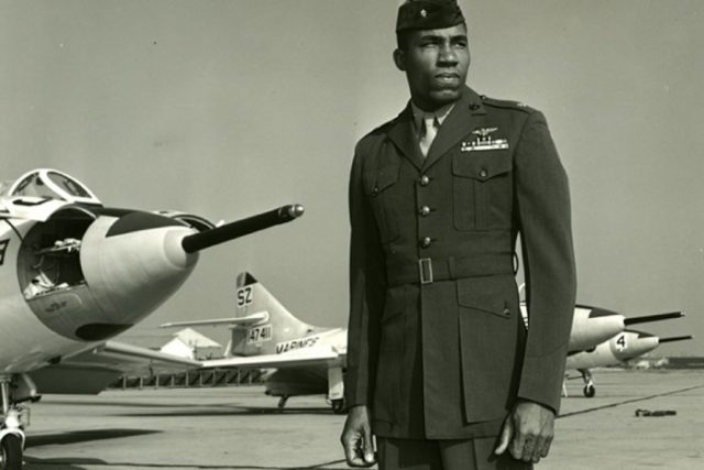 Frank E. Petersen Jr., who suffered bruising racial indignities as a military enlistee in the 1950s and was even arrested at an officers' club on suspicion of impersonating a lieutenant, but who endured to become the first black aviator and the first black general in the Marine Corps, died on Tuesday at his home in Stevensville, Md., near Annapolis. He was 83.