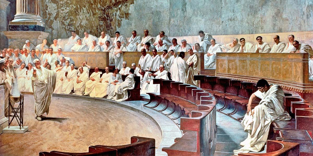 Cicerone denuncia Catilina (affresco). Cesare Maccari (1840–1919)