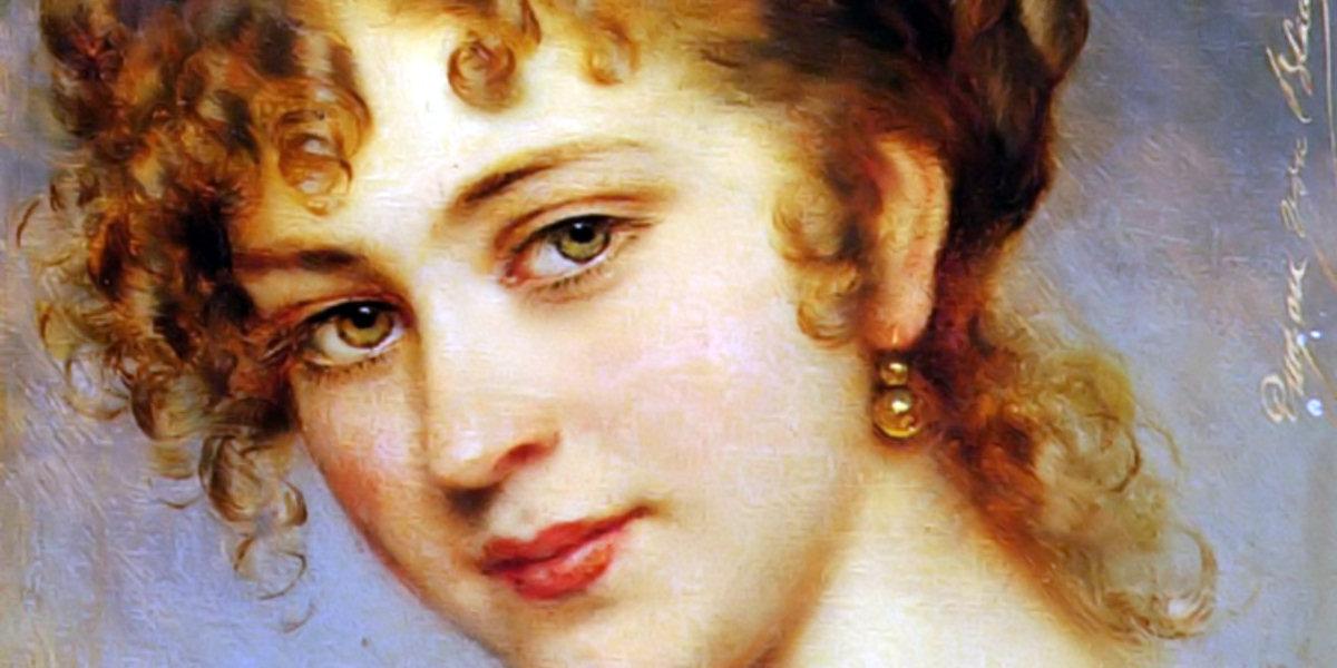 A Portrait Of A Young Lady di Eugenio De Blaas