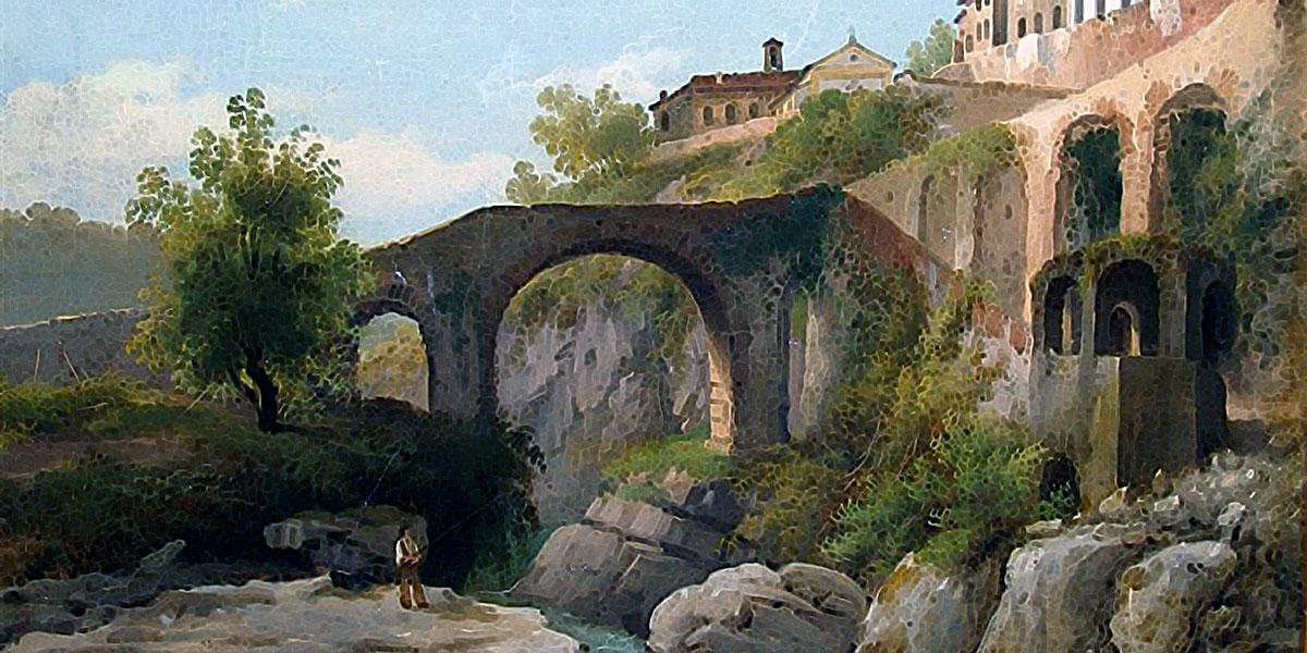 Bagnone in Lunigiana. Dipinto di Giuseppe Alinovi (1811-1848)