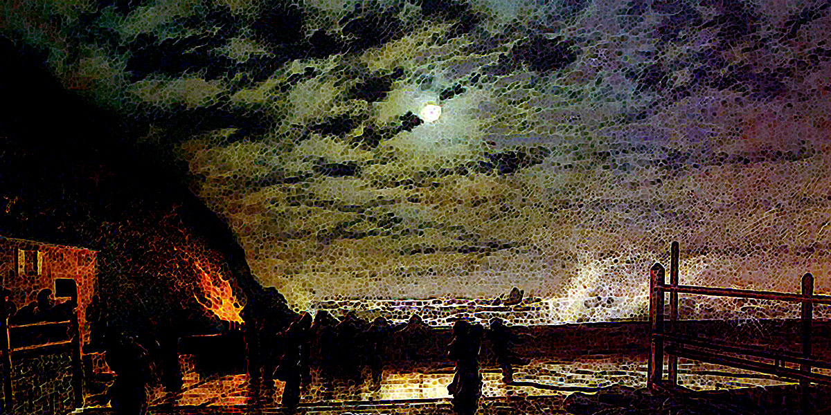 In Peril (The Harbour Flare). John Atkinson Grimshaw