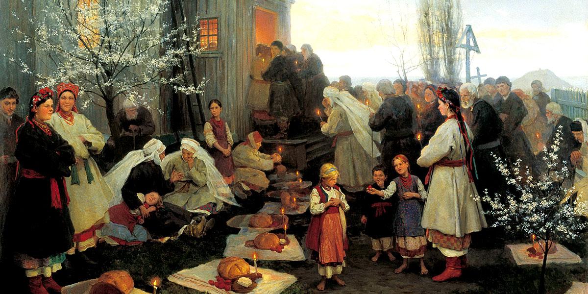 Mykola Pymonenko. Easter orthros in Little Russia