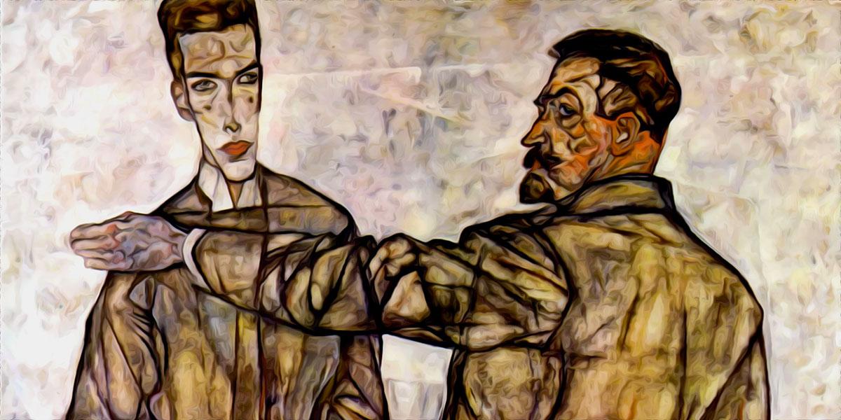 Double Portrait (Chief Inspector Heinrich Benesch and His Son Otto). Egon Schiele