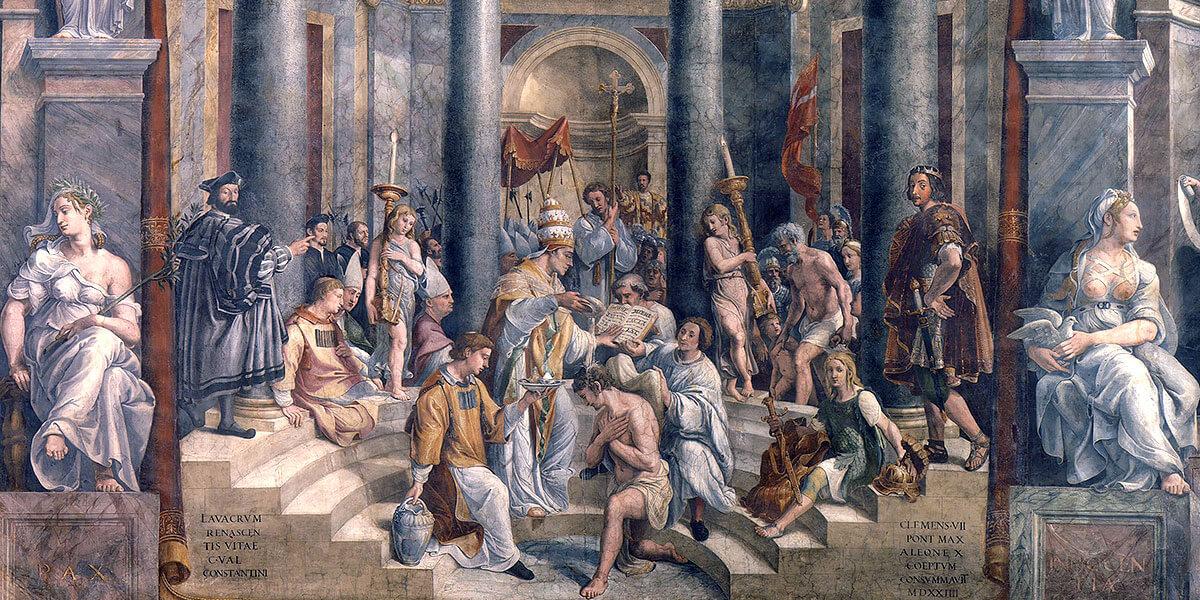 Battesimo di Costantino. Scuola di Raffaello (Giovan Francesco Penni e Giulio Romano)