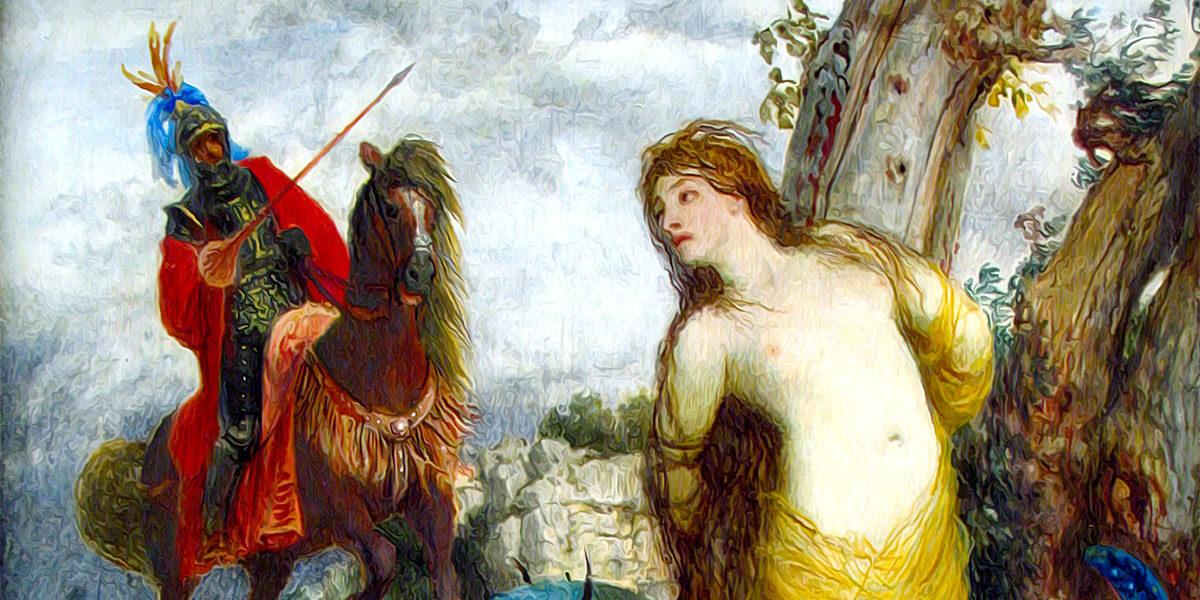 """Ruggiero libera Angelica"". Autore: Arnold Böcklin 1873"