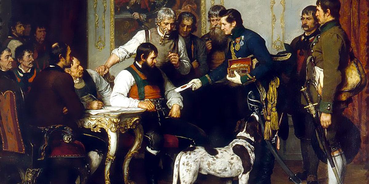 Franz von Defregger: Andreas Hofer con i suoi consiglieri nella Hofburg di Innsbruck, pittura a olio, 1879