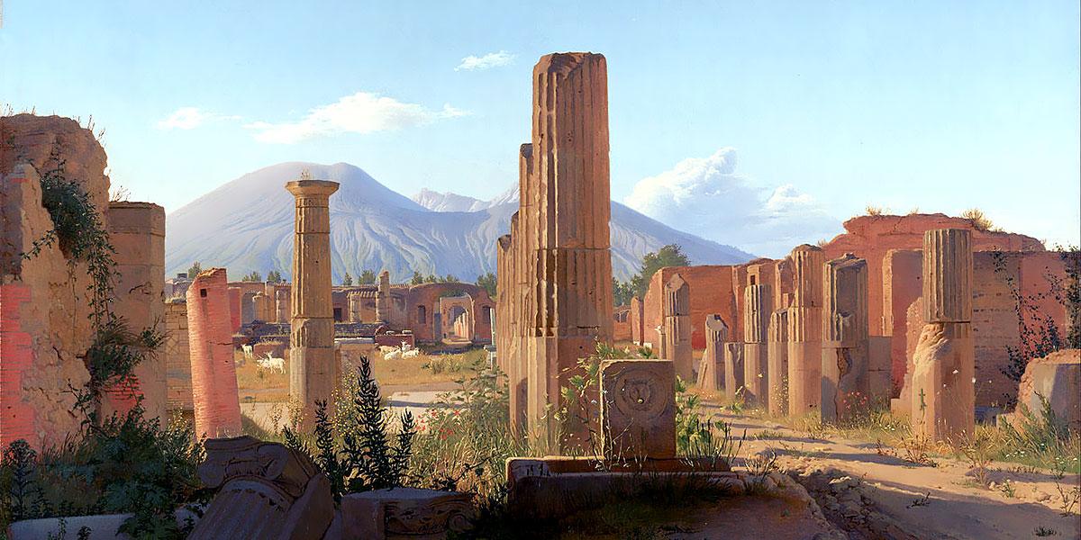 Christen Købke. The Forum, Pompeii, with Vesuvius in the distance (1841)