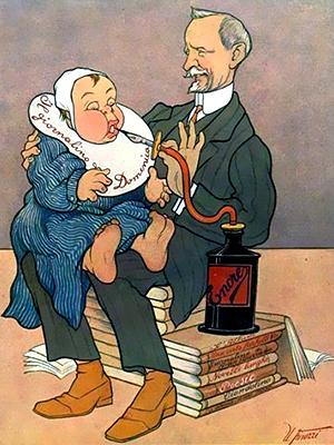 Vamba nutre il suo giornalino... in una caricatura di Ugo Finozzi (1908)