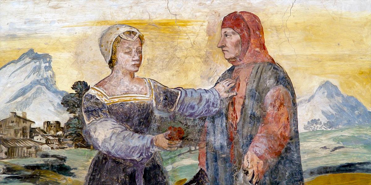 Affresco di Petrarca e Laura, Casa del Petrarca (Arquà Petrarca)