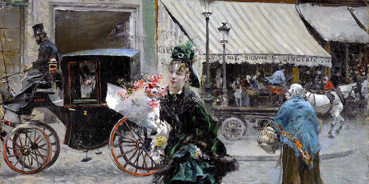 Giovanni Boldini, Attraversando la strada (1875); olio su tela