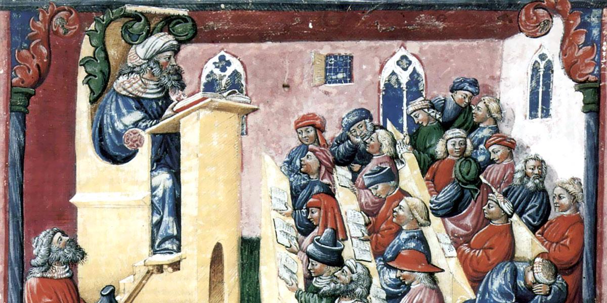 Immagine di una scuola risalente al XIV secolo.