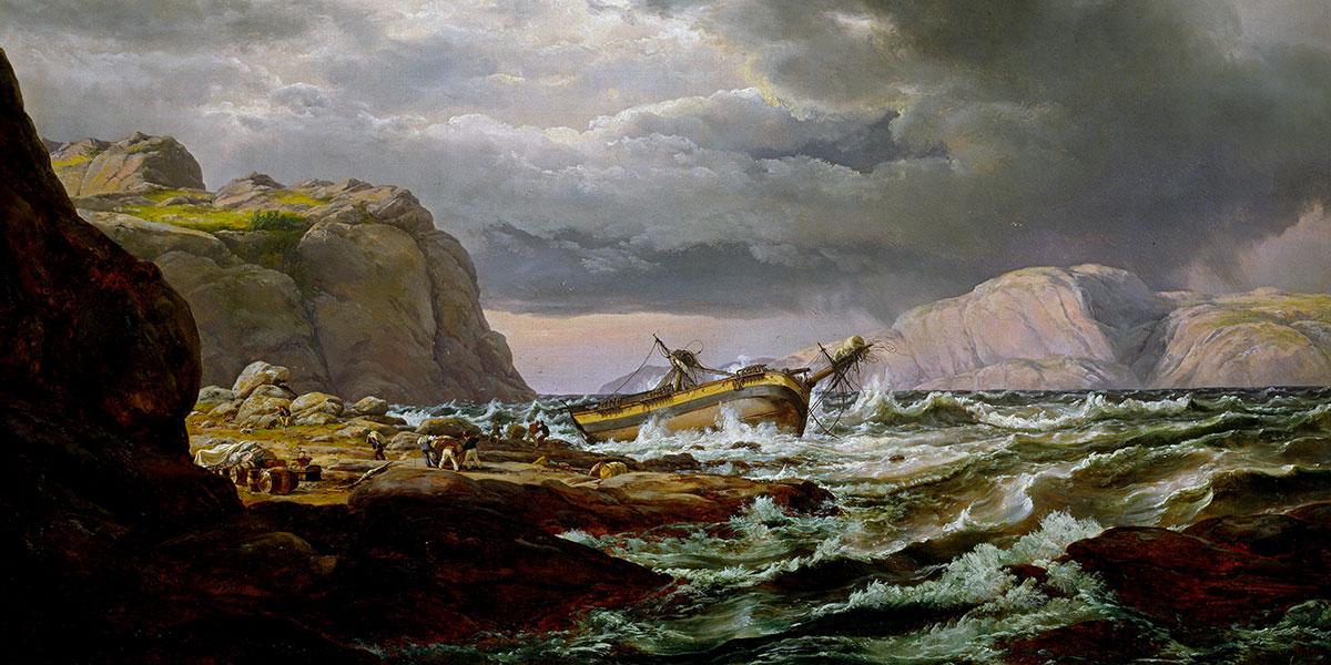 """""""Shipwreck on the Norwegian Coast"""" di Johan Christian Dahl (1788–1857)"""
