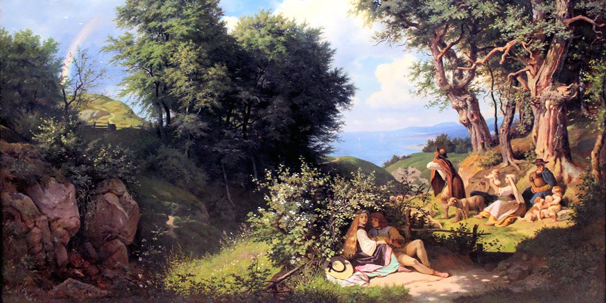 In giugno (paesaggio di giugno con arcobaleno). Ludwig Richter