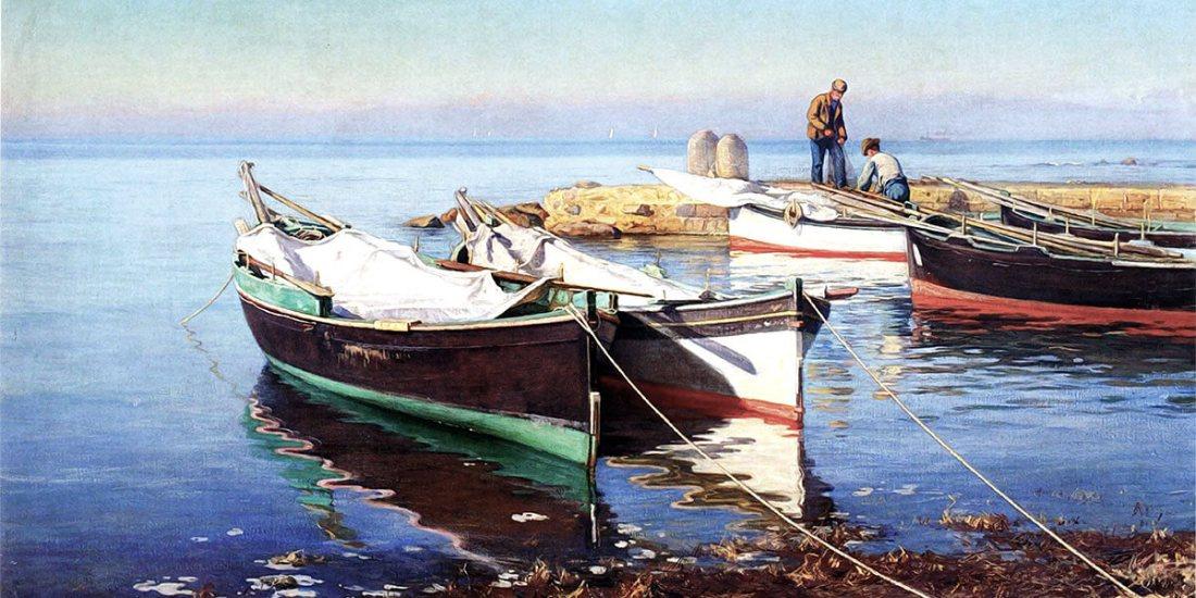 """Kalastajaveneitä (Le barche dei pescatori, pittura a olio, 1903)"" di Elin Danielson-Gambogi (1861 – 1919)"