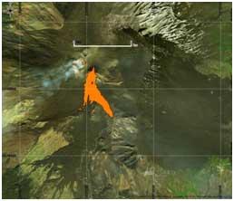 Figura 1Immagine a falsi colori utilizzando le bande 4,5 e 7 di Landsat8 (18 Marzo 2017). Il flusso lavico è evidenziato in rosso