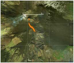 Figura 2Mappa del flusso di lava ottenuta elaborando il dato Sentinel-2A del 16 Marzo 2017. In arancione è evidenziata la colata alla data di acquisizione del satellite