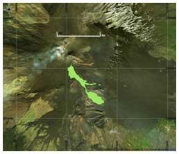 Figura 3 Mappa del flusso di lava ottenuta elaborando il dato Landsat8 del 18 Marzo 2017. In rosso è evidenziata la colata alla data di acquisizione del satellite