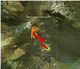 Figura 4Mappa del flusso di lava ottenuta elaborando il dato Sentinel-2A del 19 Marzo 2017. In verde è evidenziata la colata alla data di acquisizione del satellite