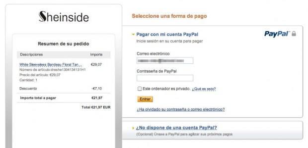 ejemplo de pago en Paypal