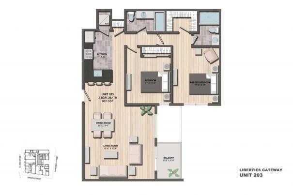 Liberties Gateway Apartment 203 Floorplan