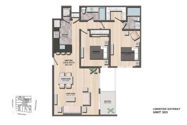 Liberties Gateway Apartment 303 Floorplan