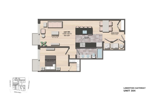 Liberties Gateway Apartment 304 Floorplan