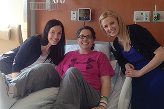 Gina DiMartino shares time with friends as she recovers in a Boston hospital.