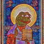 Stained Glass Pepe Qanon Meme