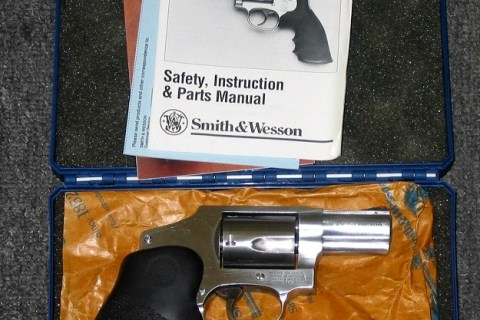 Preowned Smith & Wesson 640, .357 Magnum, DAO, 2-1/8″ Barrel, 5 Rounds, Stainless, Hogue Monogrip: $379