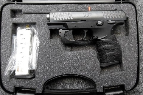 Preowned Walther CCP, 9mm, 3.5″ Barrel, Viridian Red Laser, Polymer Frame, Black Finish, 2 magazines, 8 Rounds, External Safety: $369