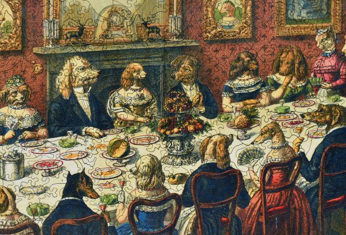 The Dogs Dinner Party Wooden Jigsaw Puzzle Liberty