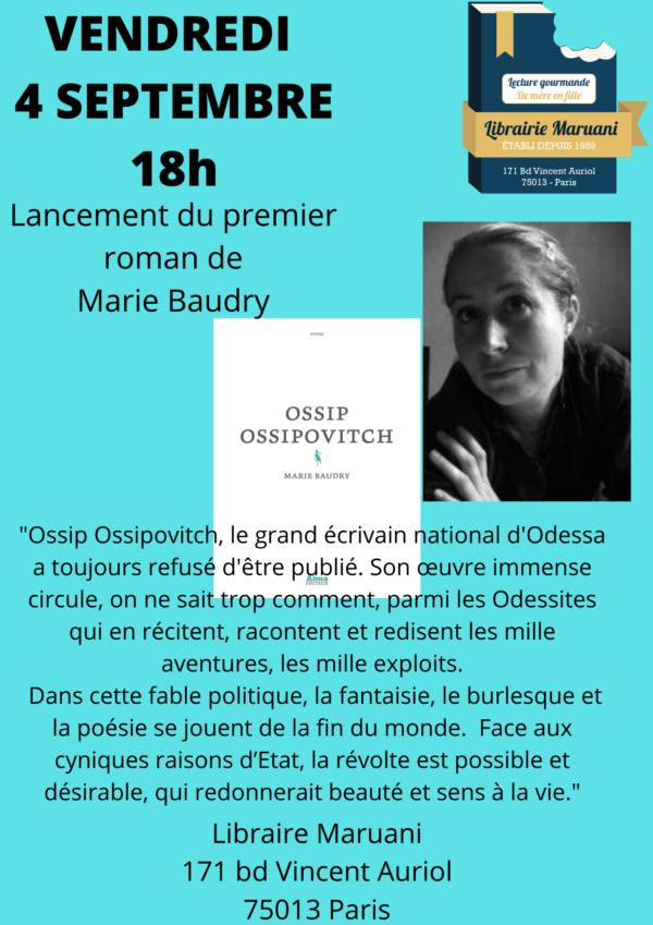 Lancement premier roman Marie Baudry
