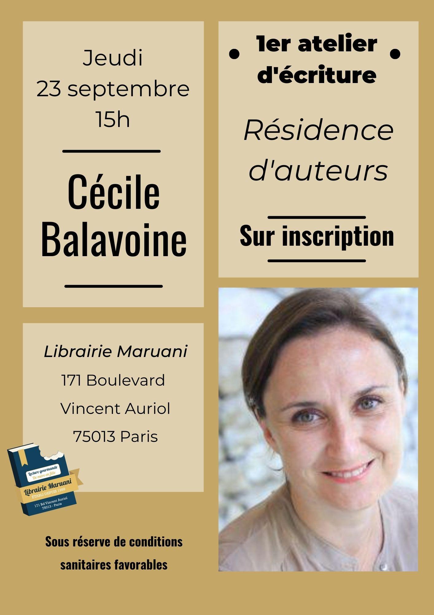 Atelier d'écriture avec Cécile Balavoine