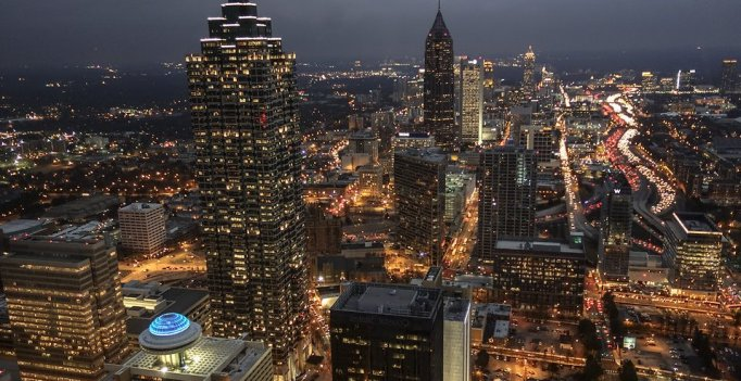 big city lights in the night