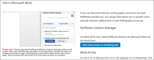 Image shows options for adding an addin from RefWorks to Microsoft Word