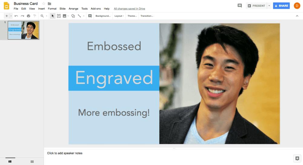 Google slides layout for 3D printed business card