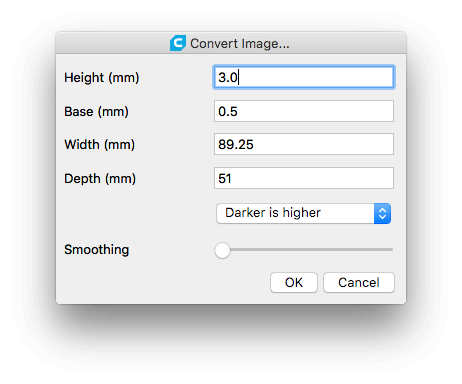 Cura settings to convert image