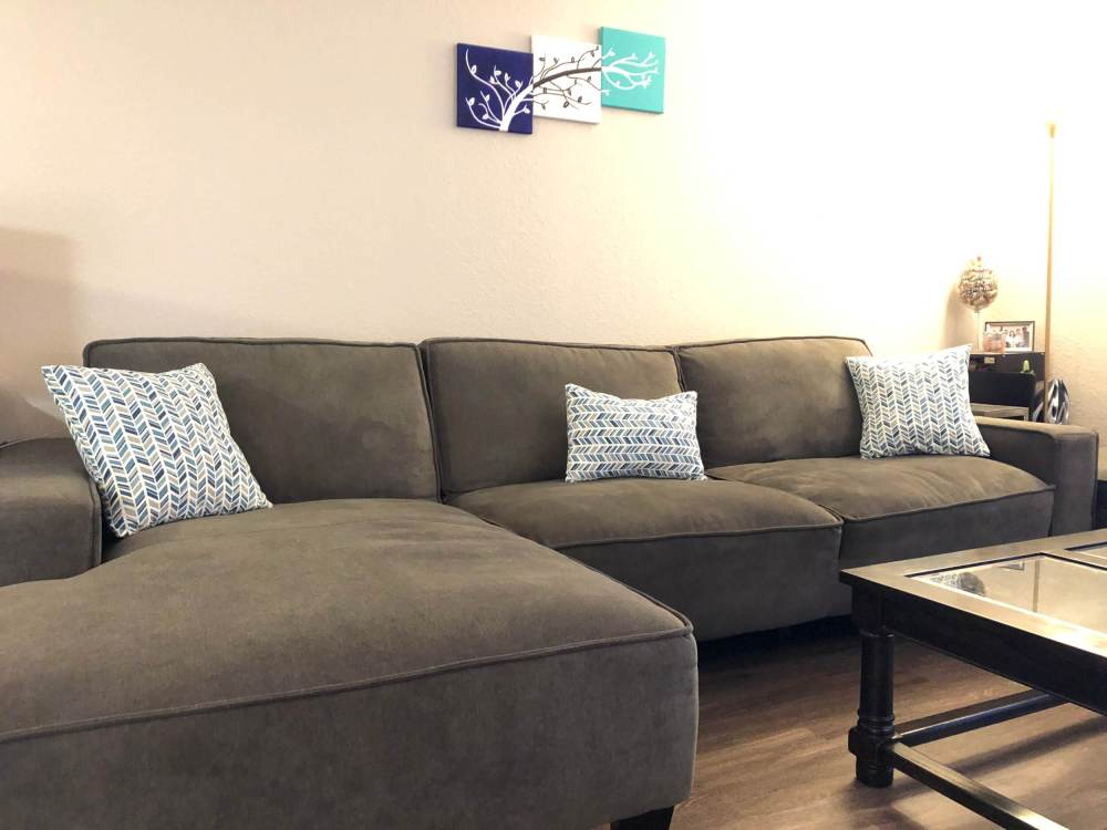 Completed throw pillows on couch
