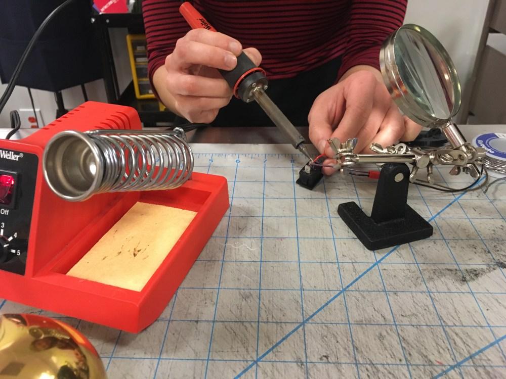 Valerie soldering Cellscope