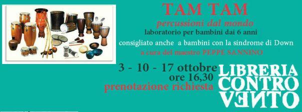 testata TAM TAM laboratorio di percussioni libreria Controvento Telese Peppe Sannino