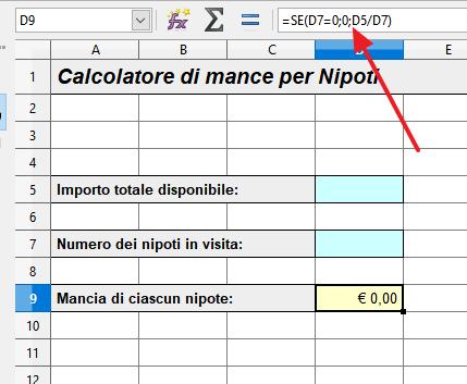 eliminare la divisione per zero: la funzione SE()