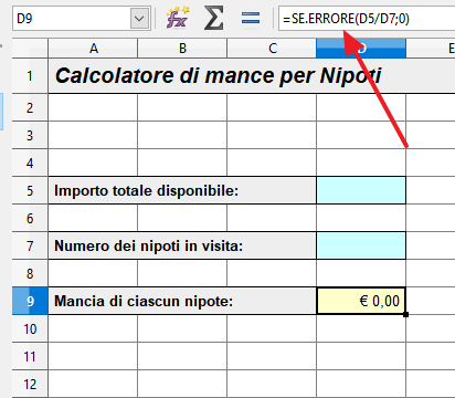 eliminare la divisione per zero usando SE.ERRORE()
