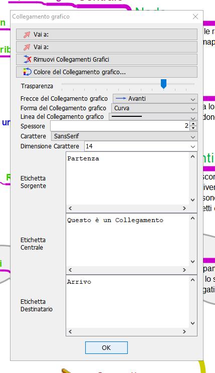 Freeplane: finestra collegamenti grafici