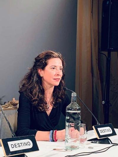 Ana Merino, en la rueda de prensa tras recoger el Premio Nadal.