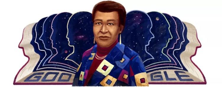 Doodle que Google dedicó a Octavia E. Butler, con su rostro sobre un fondo estrellado