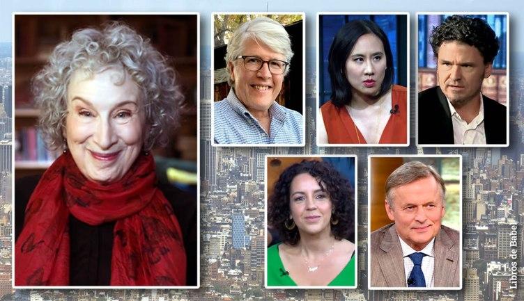 De izquierda a derecha y de arriba y abajo: Margaret Atwood, Douglas Preston, Celeste Ng, Dave Eggers, Angie Cruz y John Grisham