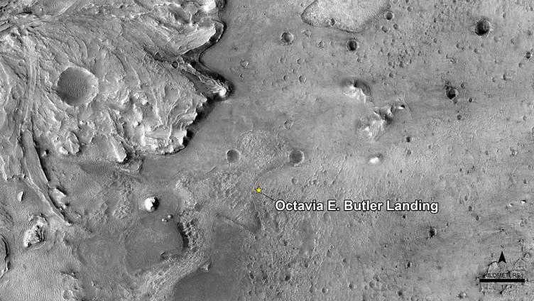 Imagen de la localización en Marte del punto que homenajea a Octavia E. Butler