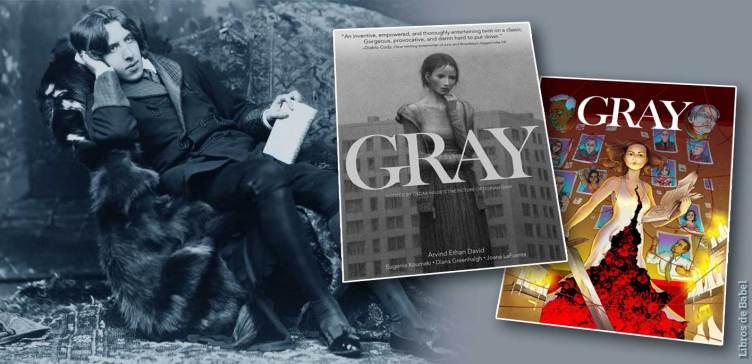El escritor Oscar Wilde tumbado en un sofá posa junto a las portadas de las novelas gráficas GRAY